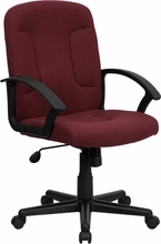 Flash Furniture Burgundy Fabric Office Chair with Nylon Arms