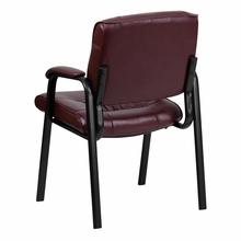 Flash Furniture Burgundy Leather Guest / Reception Chair with Black Frame Finish