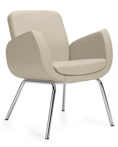 Global Kate Series 4 Legged Medium Back Leather Lounge Chair 2813LM