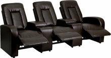 3 Person Brown Leather Home Theater Recliner with Storage Consoles by Flash Furniture