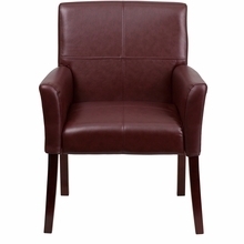 Flash Furniture Burgundy Leather Side Chair or Reception Chair with Mahogany Legs