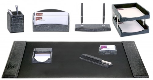 Dacasso Black Crocodile Embossed Leather 10 Piece Desk Set D2220