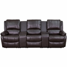 3 Person Brown Leather Pillow Top Home Theater Recliner with Storage Console by Flash Furniture (Middle Seat Does Not Recline)