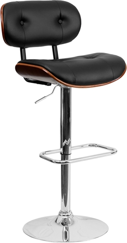 Flash Furniture Button Tufted Black Vinyl Bar Stool with Walnut Bentwood Accents