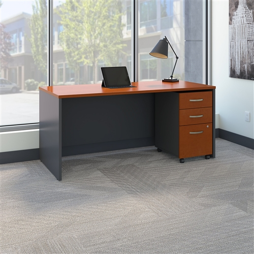 "Bush Series C 66""W x 30""D Straight Front Desk with Pedestal SRC015"