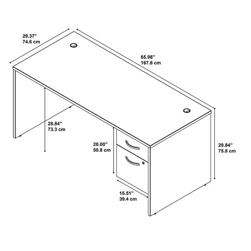 Bush Series C 66W x 30D Desk with 3/4 Pedestal SRC071
