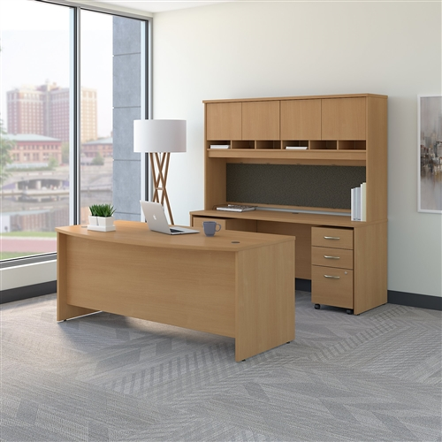"Bush Series C 72""W Bow Front Desk with Credenza, Hutch and Storage SRC082"