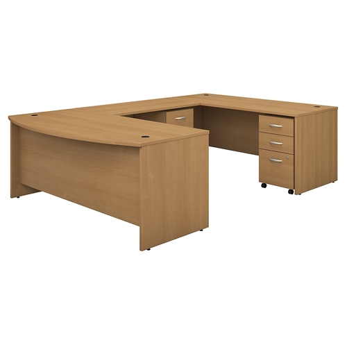 Bush Series C 72W Bow Front U Shaped Desk with Mobile File Cabinets SRC043