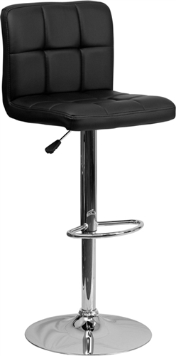 Flash Furniture Contemporary Black Vinyl Adjustable Height Bar Stool with Chrome Base