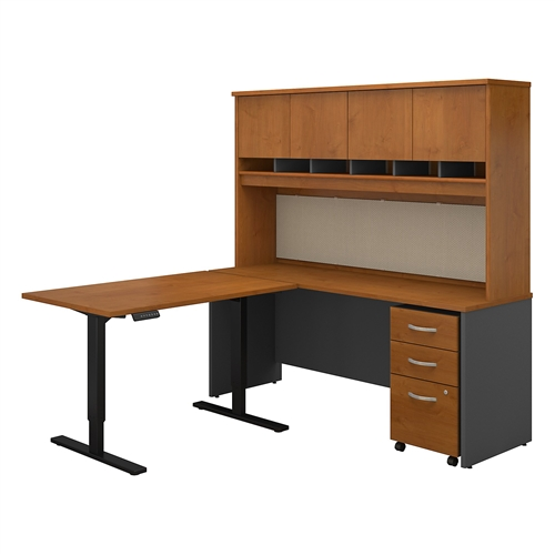 Bush Series C 72W Desk with 48W Height Adjustable Return, Hutch and Storage