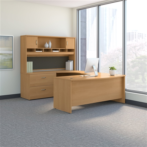 Bush Series C 72W Left Handed Bow Front U Shaped Desk with Storage