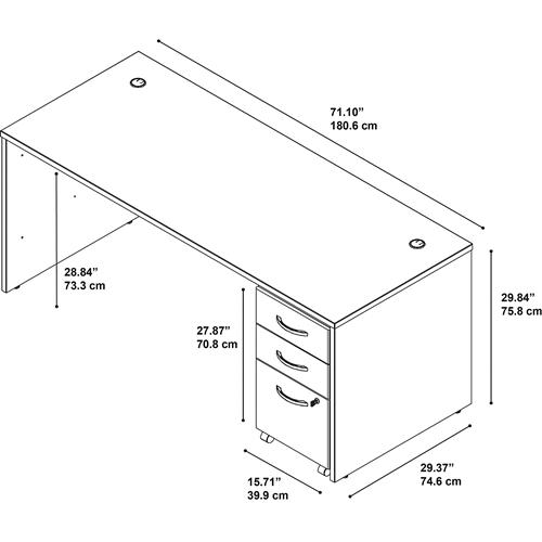 Bush Series C 72W x 30D Office Desk with Mobile File Cabinet