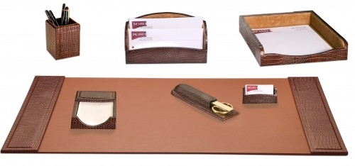 Dacasso Brown Crocodile Embossed Leather 7 Piece Executive Stationary Set D2004