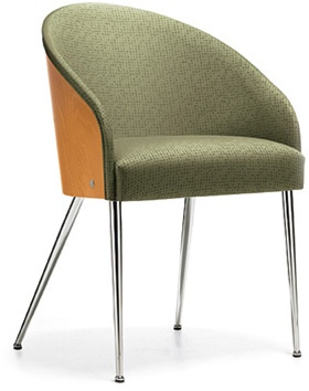 Global Marche Collection 8622 Contemporary Side Chair with Wood Accents