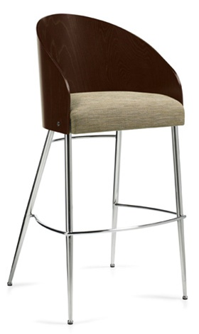 Global Marche Curved Wood Back Bar Stool 8624S