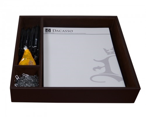 Dacasso Chocolate Brown Leather Conference Room Organizer Tray A3440