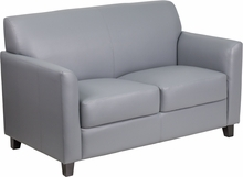 Flash Furniture Diplomat Collection Gray Leather Loveseat BT-827-2-GY-GG