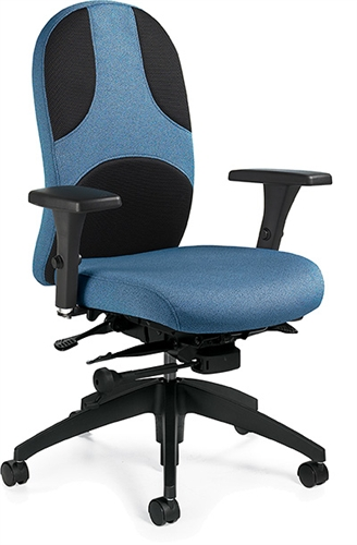 Global Obus Ultraforme Black Mesh and Fabric Adjustable Office Chair 5441-3