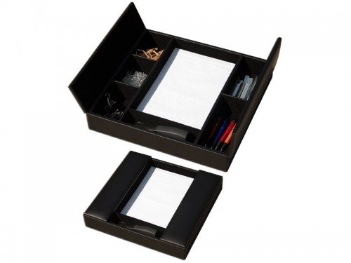 Dacasso Classic Black Leather Conference Room Organizer with 6 Supply Compartments