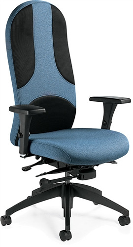Global Obus Ultraforme Black Mesh and Fabric High Back Office Chair 5440-3