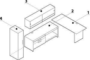 Global Princeton L Shaped Desk Layout with Overhead Hutch A1J