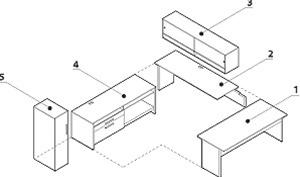 Global Princeton Modular Executive Desk A3M