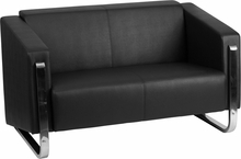 Flash Furniture Gallant Series Contemporary Black Leather Love Seat