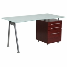 Flash Furniture Glass Computer Desk with Mahogany Pedestal