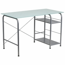 Flash Furniture Glass Computer Desk with Open Storage Shelves