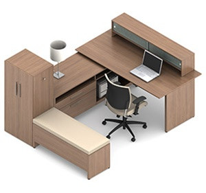 Global Princeton U Shaped Desk with Padded Bench A1I