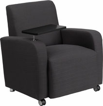 Flash Furniture Gray Fabric Tablet Arm Chair with Front Wheels