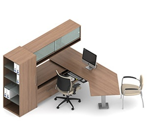 Global Princeton Wall Desk with J Shaped Surface A1V