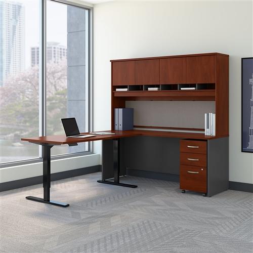 Bush Series C Ergonomic L Desk with Hutch SRC110