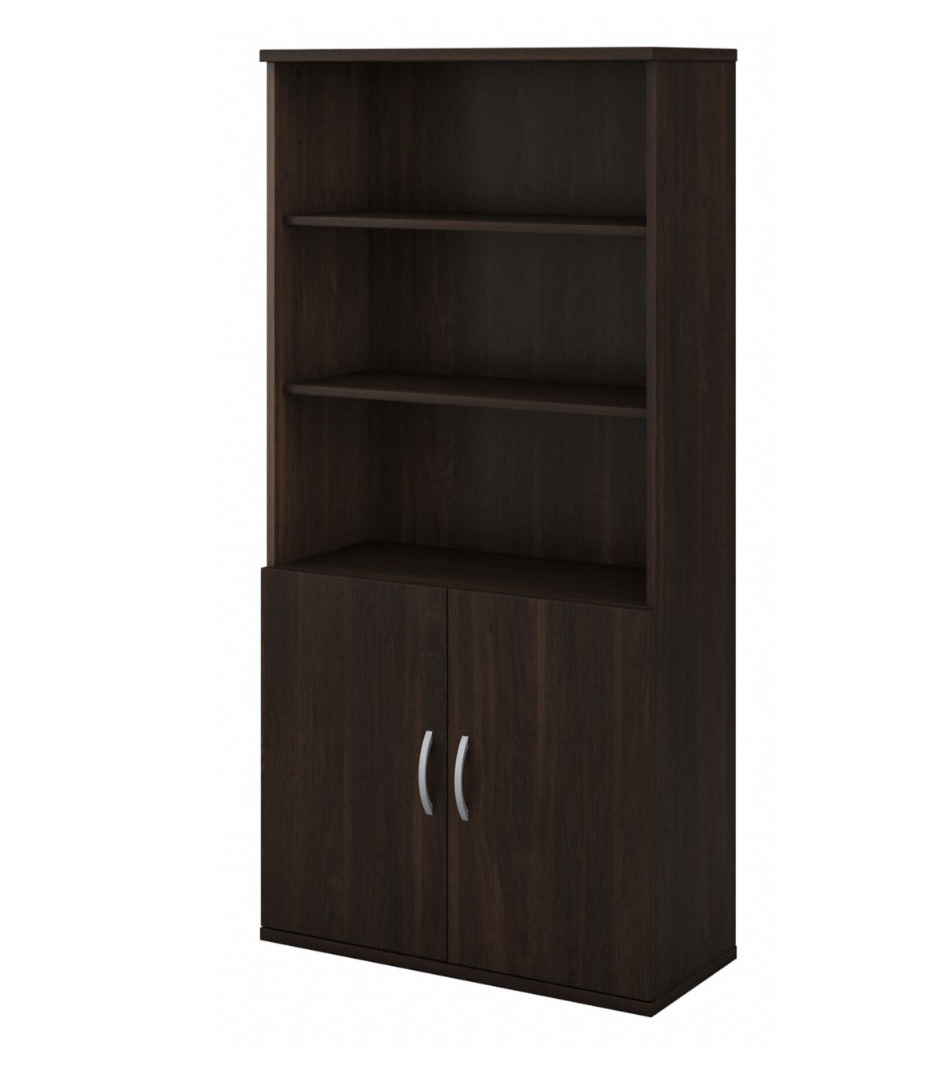 "Bush Studio C 36""W 5 Shelf Bookcase with Doors STC015"