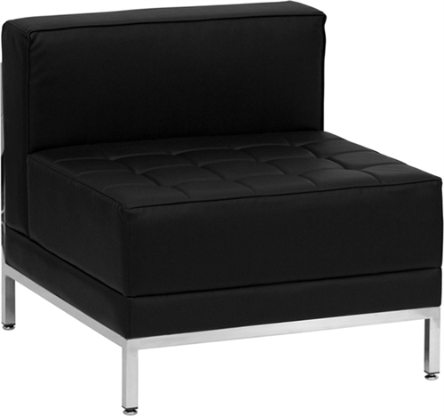 Flash Furniture HERCULES Imagination Series Contemporary Black Leather Middle Chair