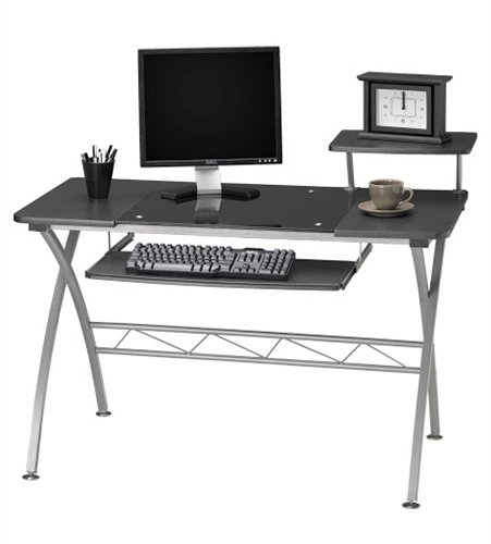 972 Vision Home Computer Desk with Glass Inserts and Metal Frame