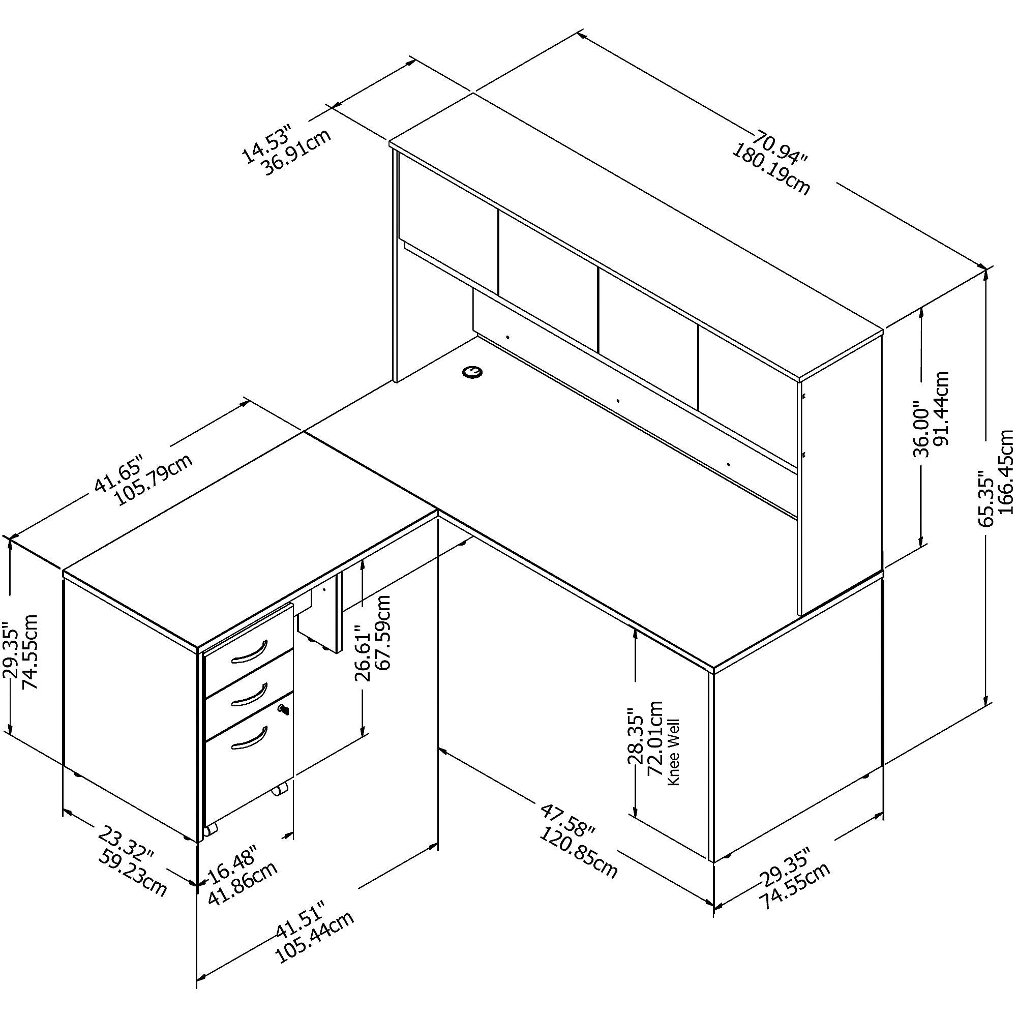 Bush Studio C 72W x 30D Desk, 42W Return, Hutch and Mobile Pedestal