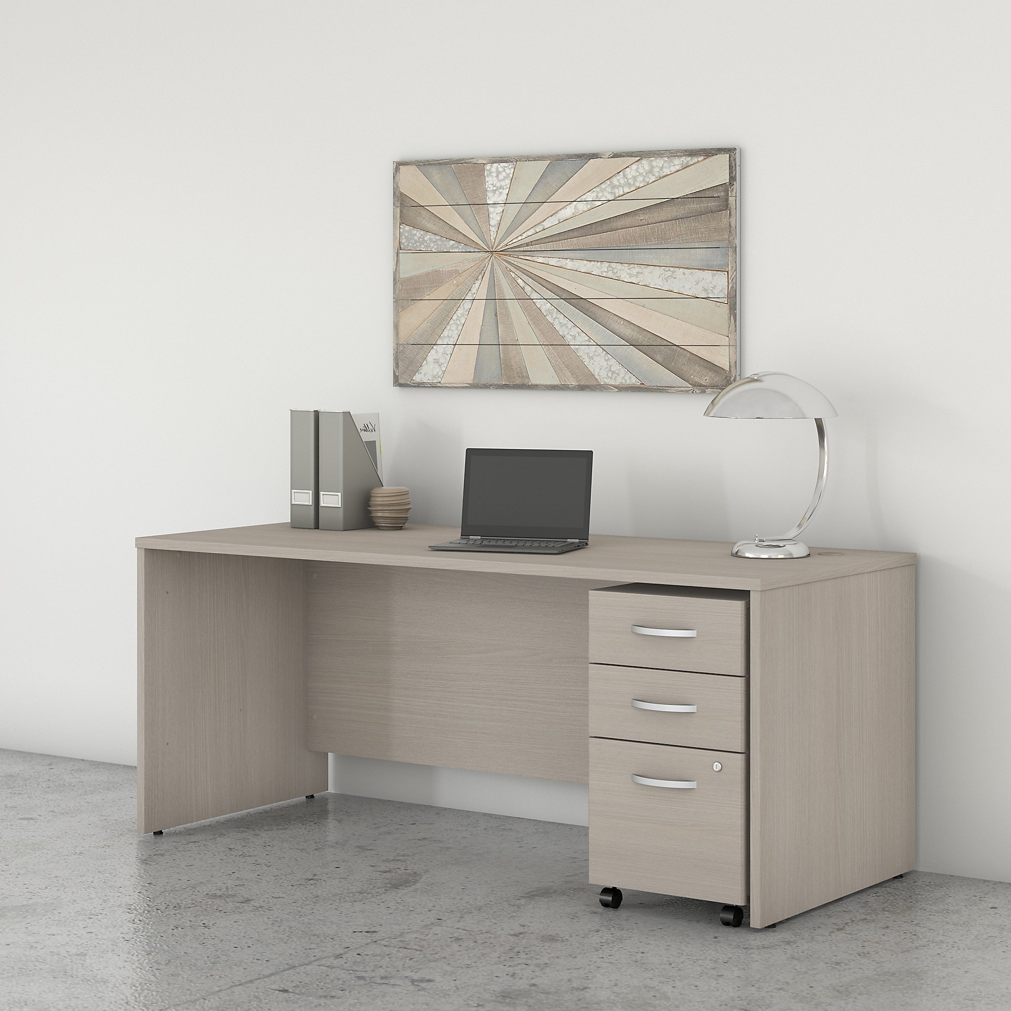 Bush Studio C 72W x 30D Office Desk with Mobile File Cabinet