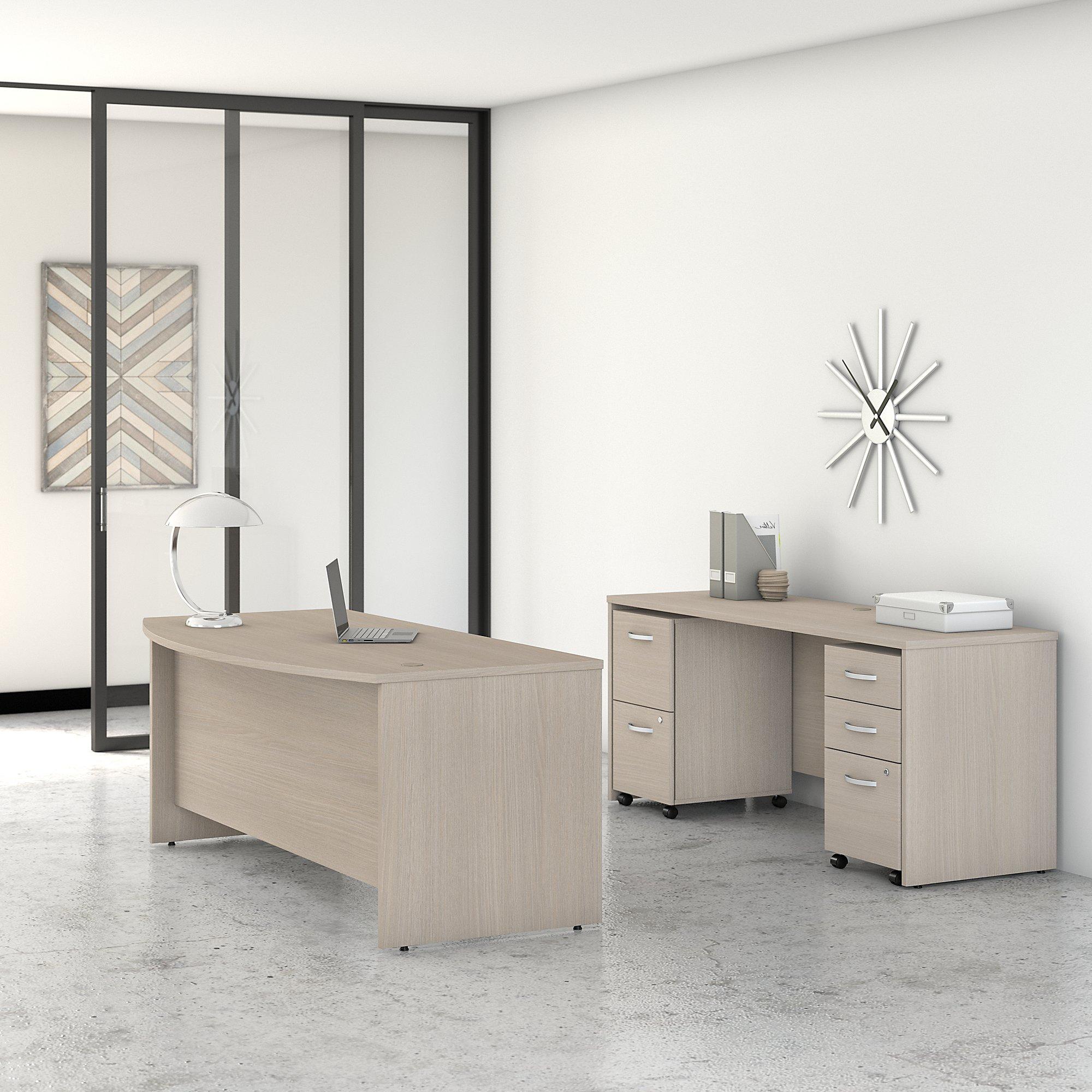 sand oak studio c desk and credenza set