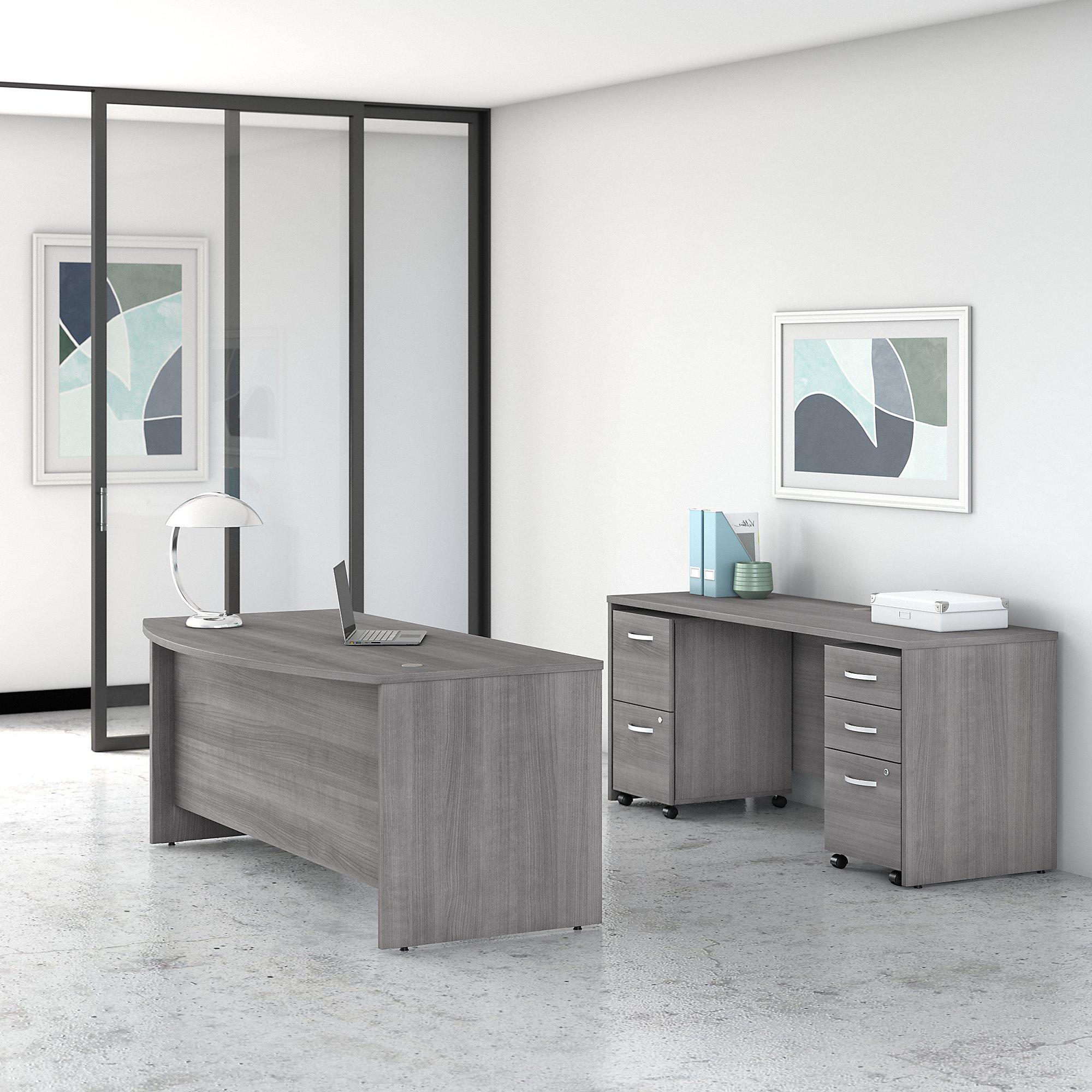 platinum gray studio c desk and credenza set
