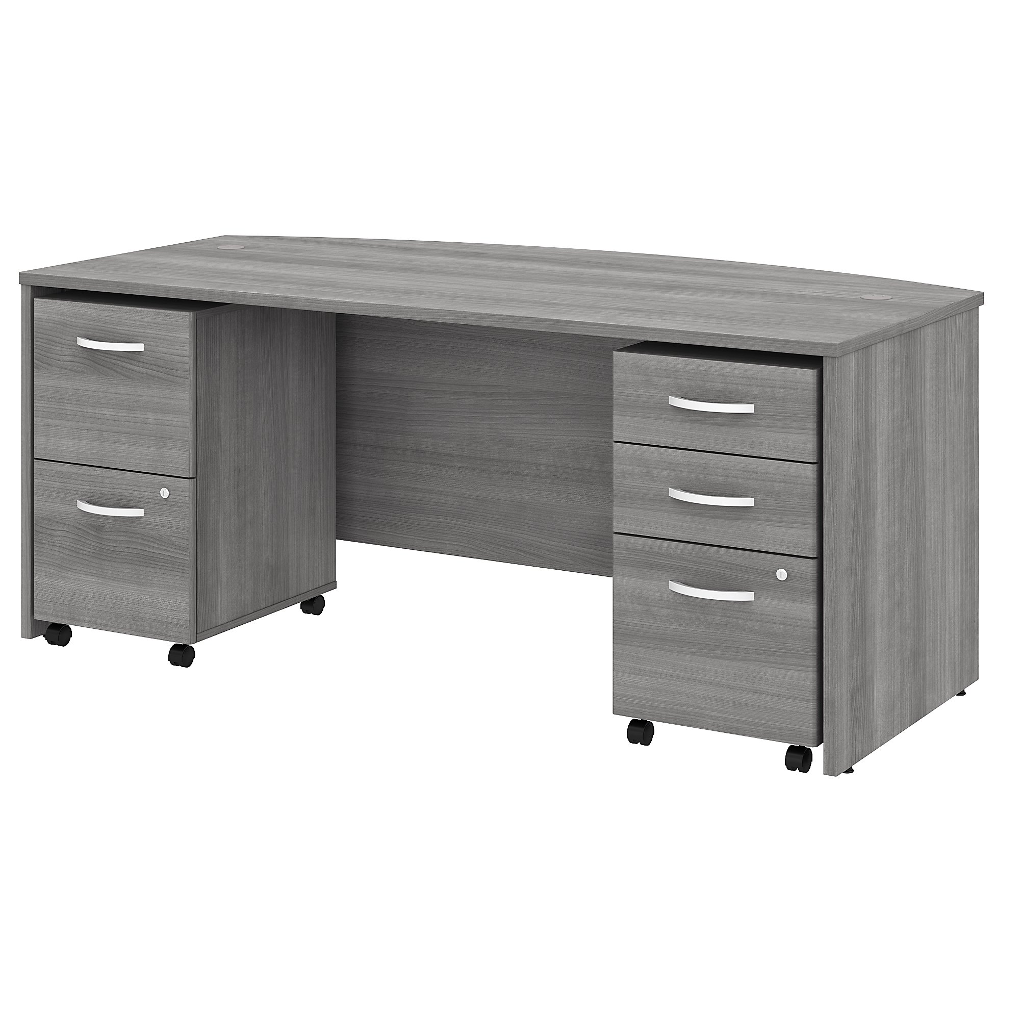 Bush Studio C 72W x 36D Bow Front Desk with Mobile File Cabinets