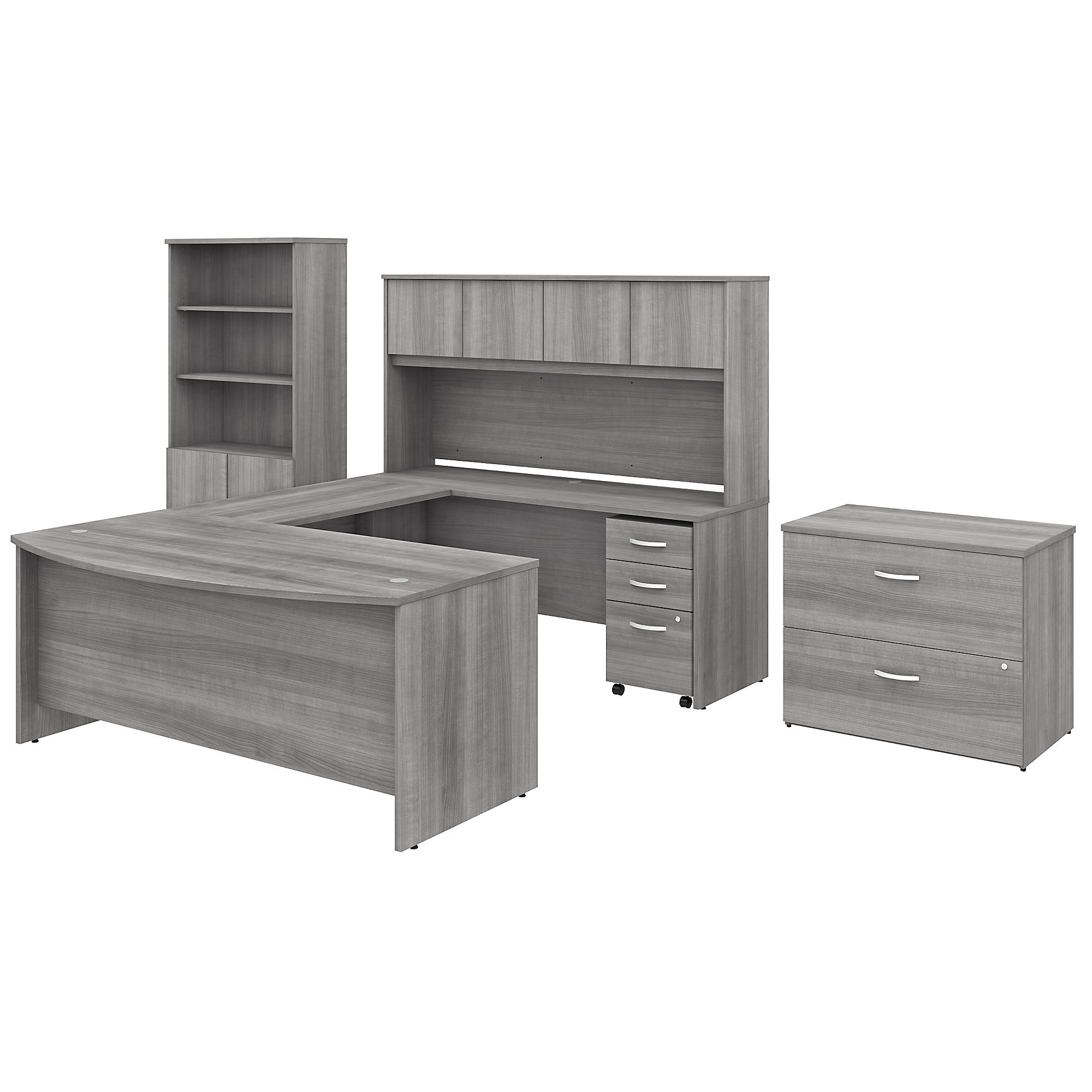 Bush Studio C Collection Contemporary U Shaped Desk with Hutch, Bookcase and File Cabinets STC001