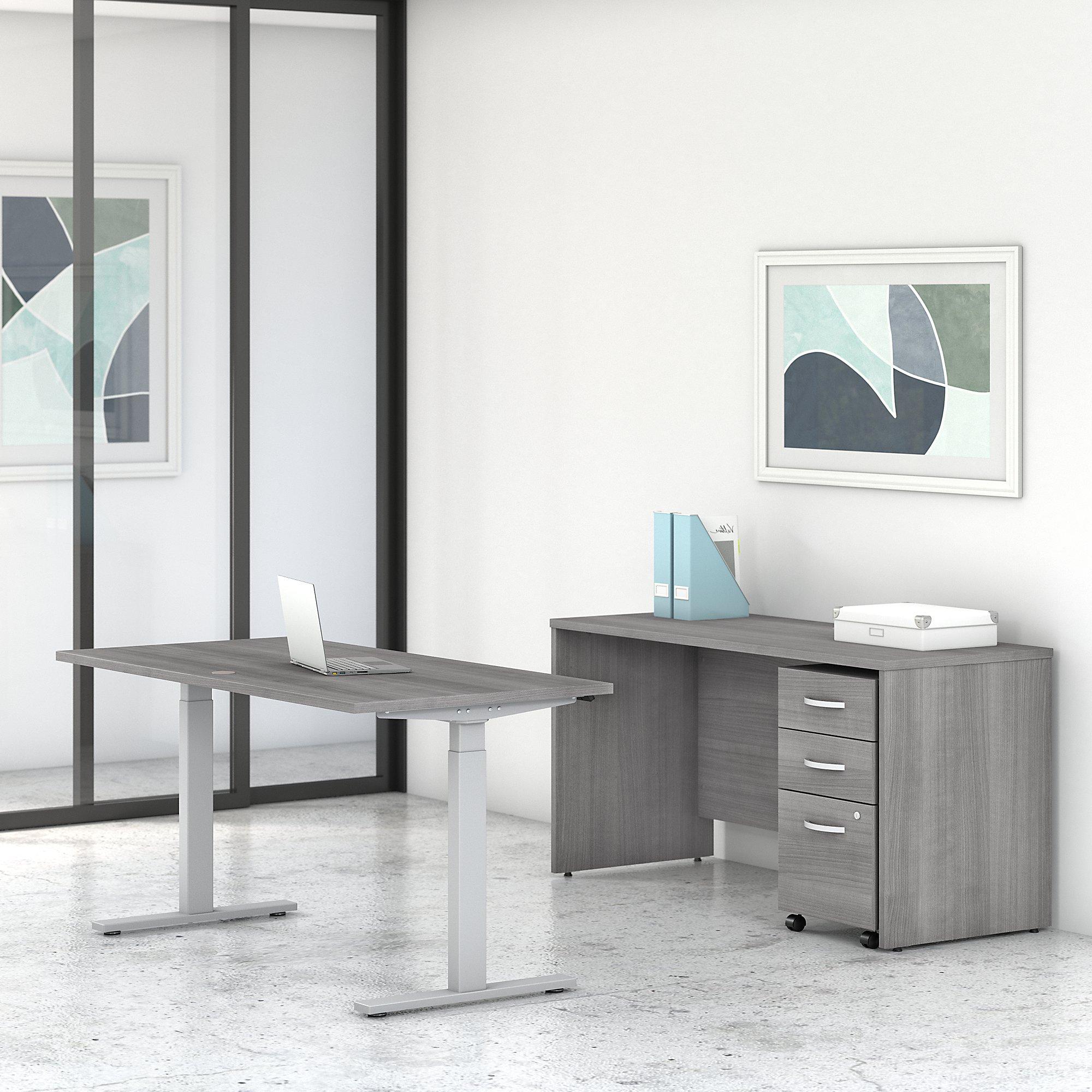 platinum gray stc017 studio c ergonomic desk set