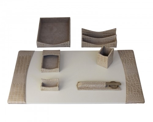Dacasso Protacini Breeze Beige Italian Leather Desk Set D6304