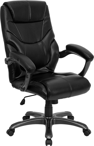 Flash Furniture High Back Black Leather Overstuffed Executive Office Chair