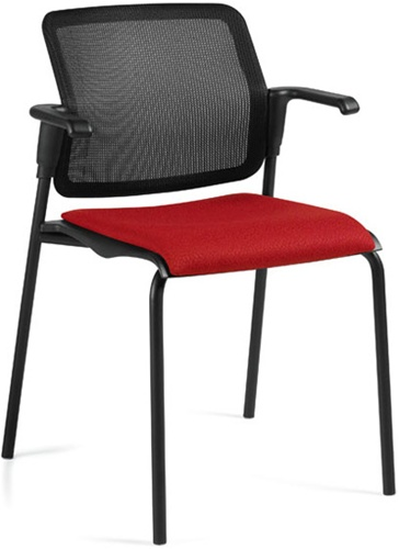 Global Sonic Mesh Back Guest Chair with Fabric Seat - 6514MB