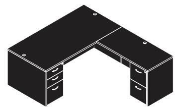 cherryman double pedestal l-desk line drawing