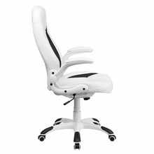 Flash Furniture High Back White Leather Executive Office Chair with Flip Up Arms