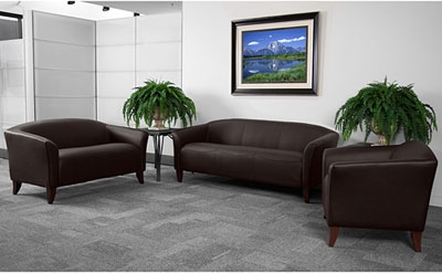 Flash Furniture Imperial Brown Leather Reception Furniture Set