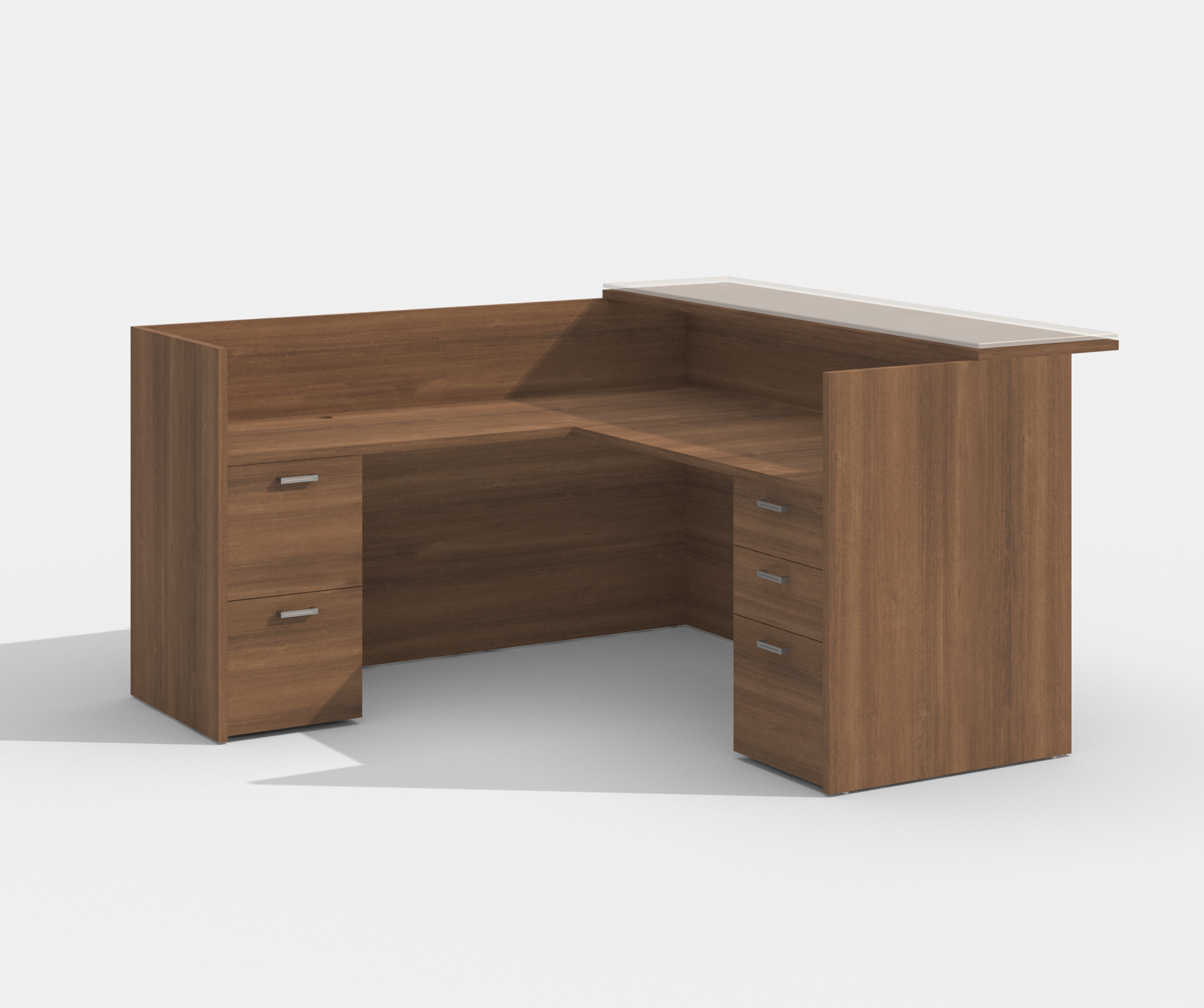 amber walnut reception desk